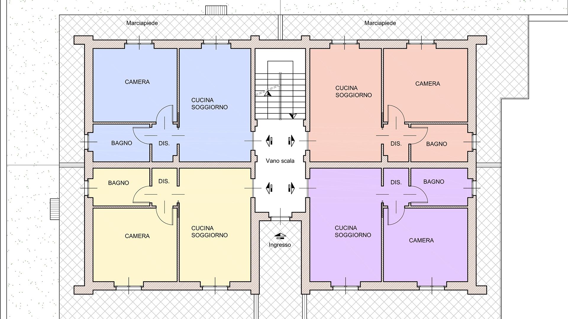 pianta piano terra residenza Sole 2 - comune di Verduno
